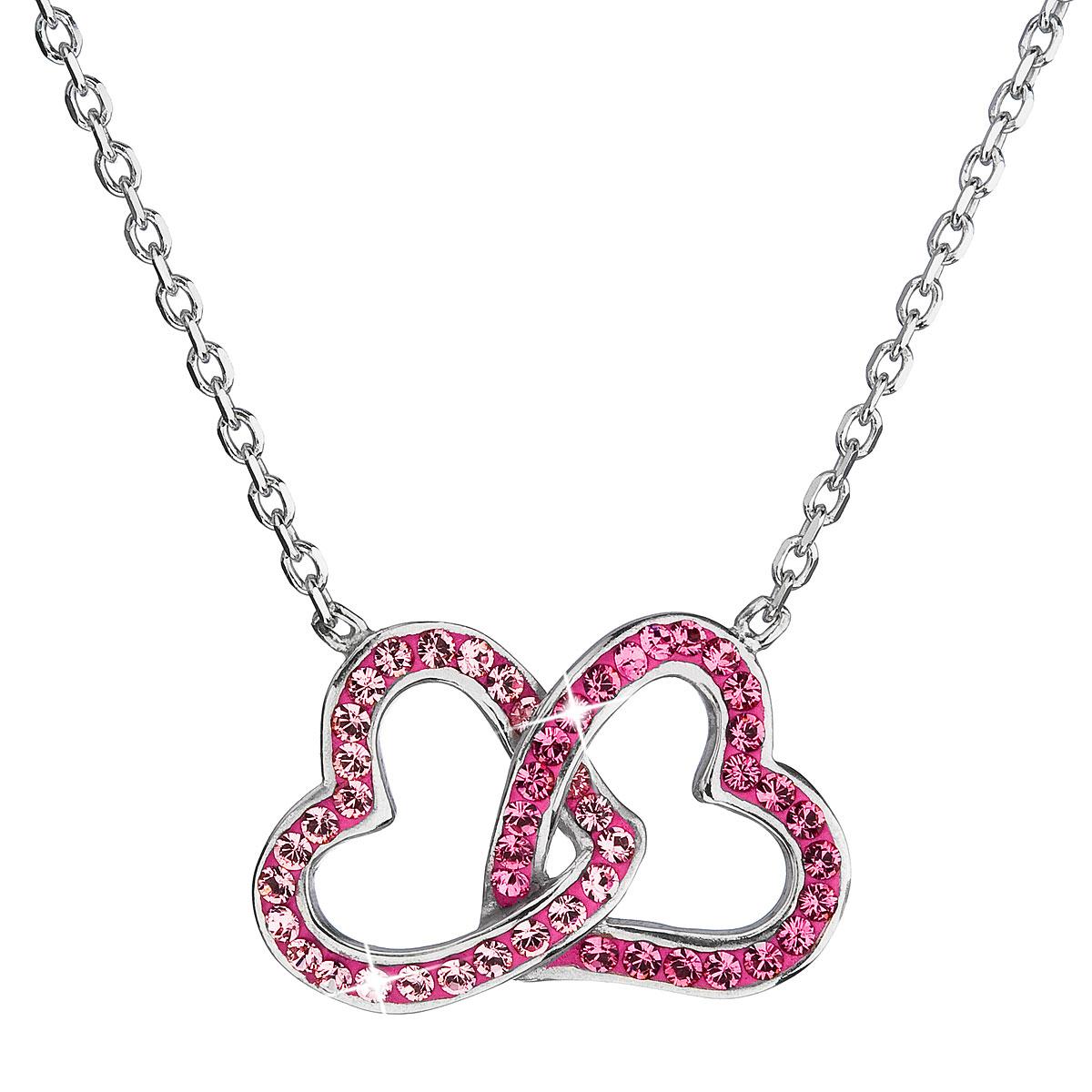 7d26ab293 Evolution Group Stříbrný náhrdelník s krystaly Swarovski srdce růžový  32015.3, dárkové balení