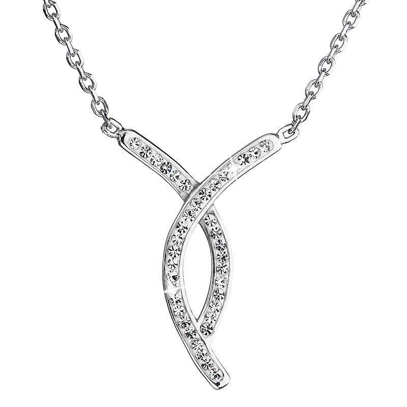 Evolution Group Stříbrný náhrdelník s krystaly Swarovski bílý 32018.1