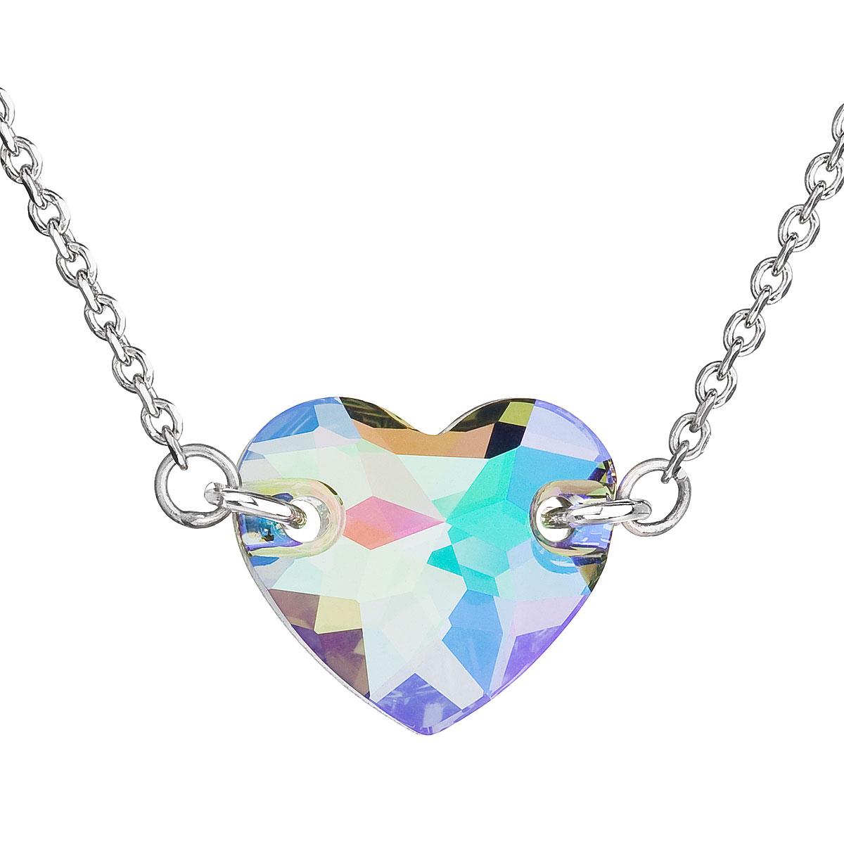 Evolution Group Stříbrný náhrdelník s krystaly Swarovski zeleno-fialové srdce 32020.5