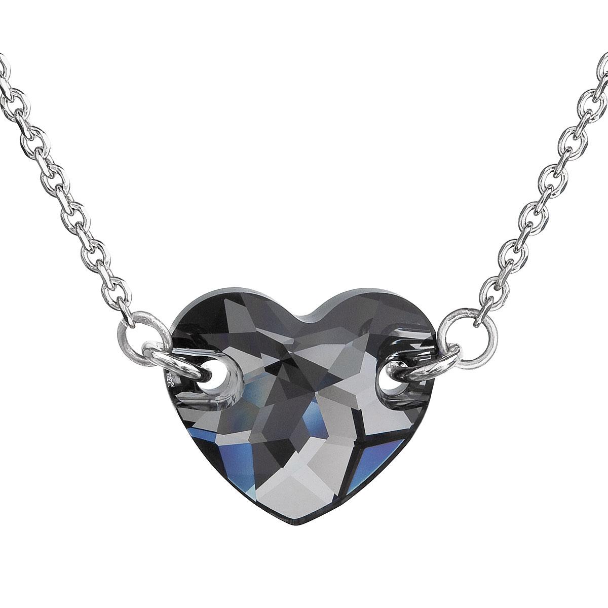 Evolution Group Stříbrný náhrdelník s krystaly Swarovski šedé srdce 32020.5
