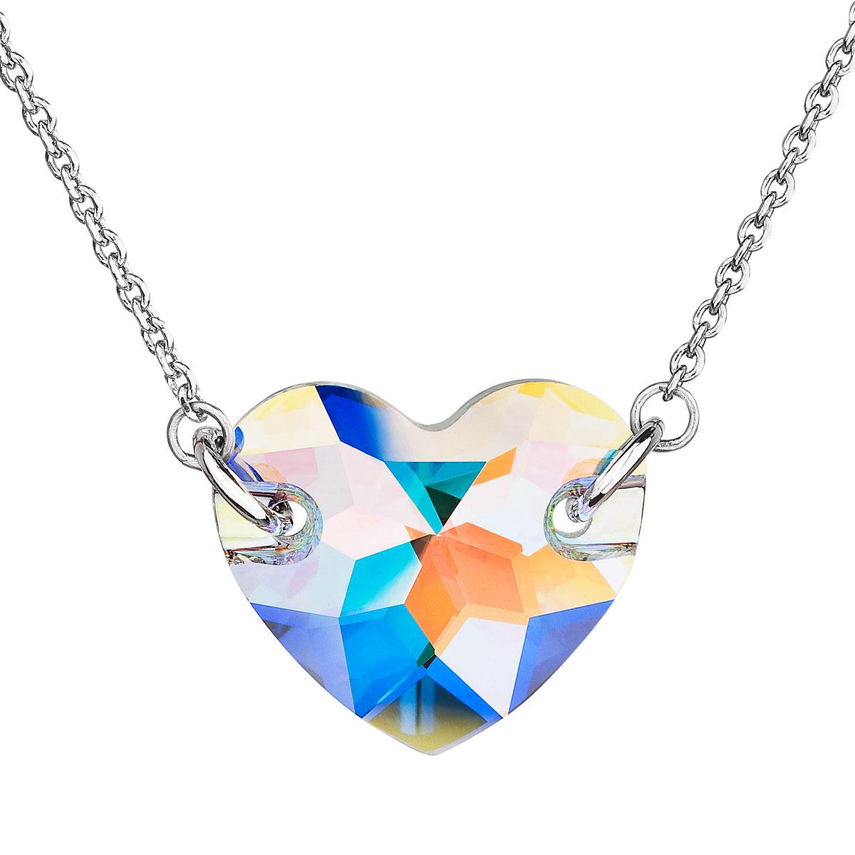 432f21519 Evolution Group Stříbrný náhrdelník s krystaly Swarovski bílé AB efekt srdce  32021.2, dárkové balení
