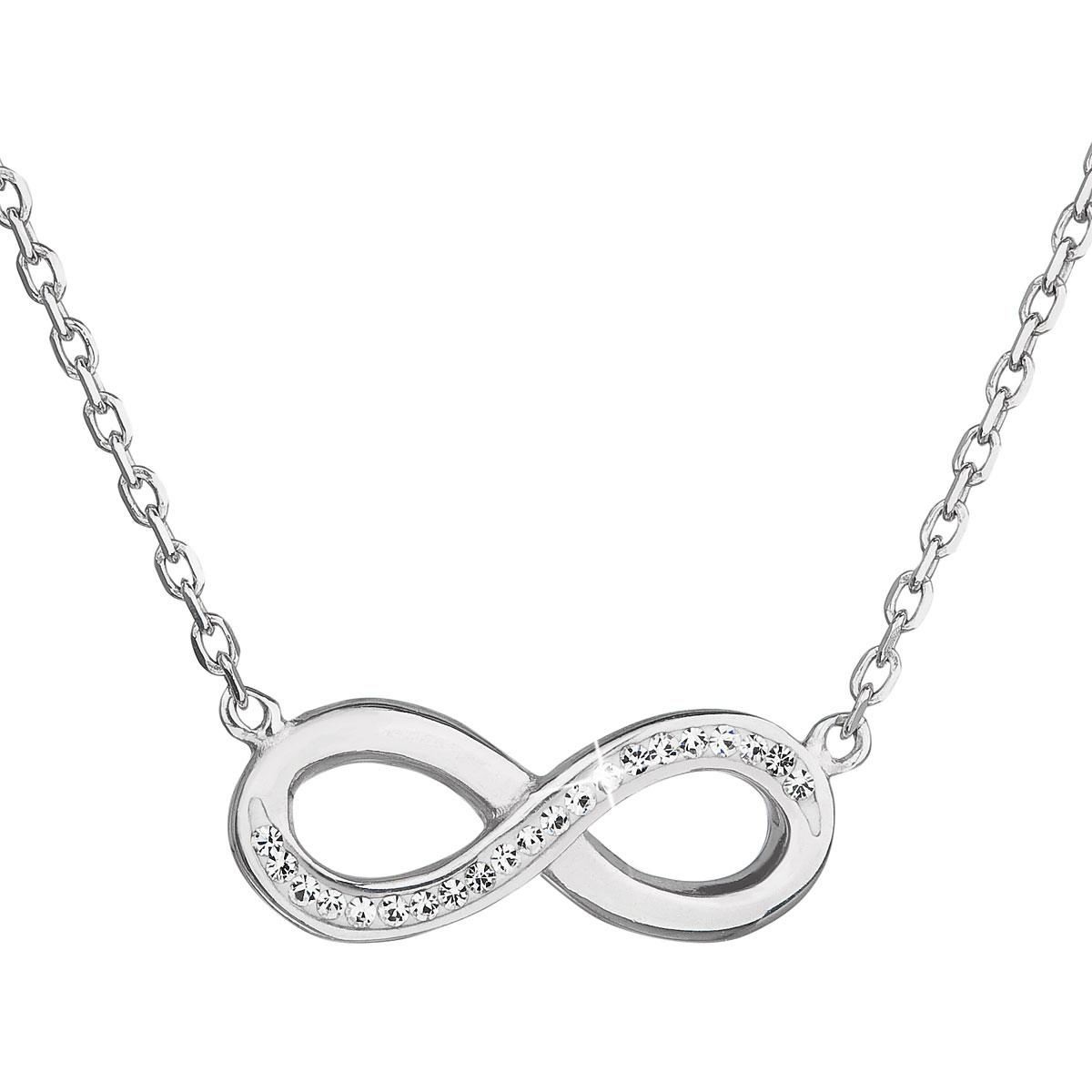 Evolution Group Stříbrný náhrdelník s krystaly Swarovski bílé infinity,osmička-nekonečno 32023.1