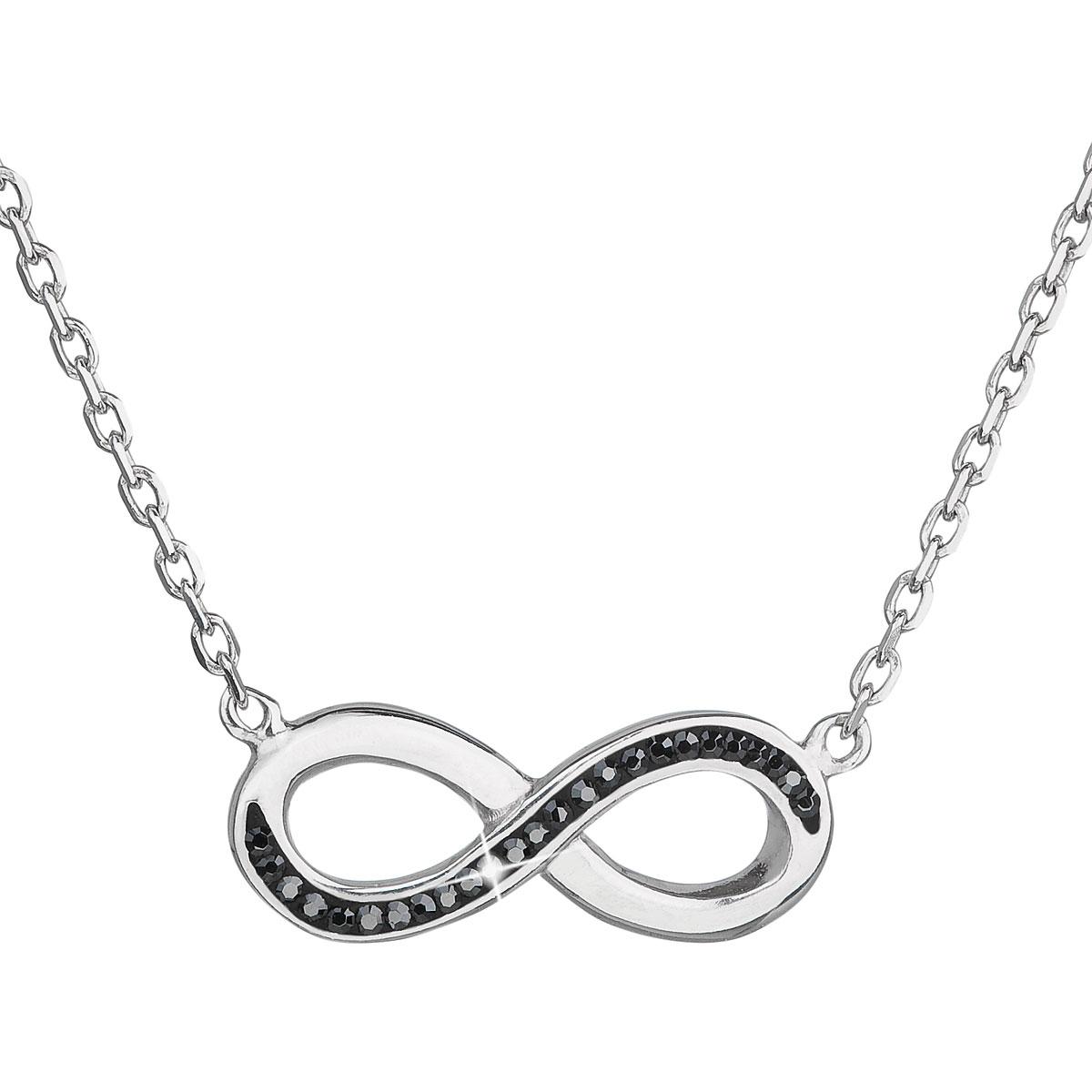 Evolution Group Stříbrný náhrdelník s krystaly Swarovski černé infinity,osmička-nekonečno 32023.5