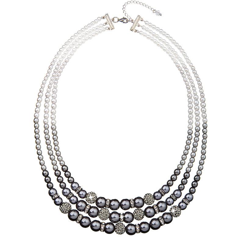 Evolution Group Perlový náhrdelník šedý 32010.3