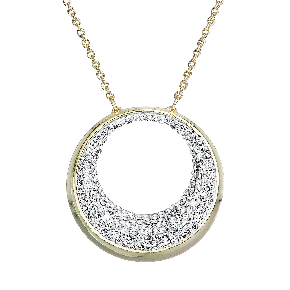 Evolution Group Stříbrný náhrdelník s krystaly Swarovski žlutý 32026.1
