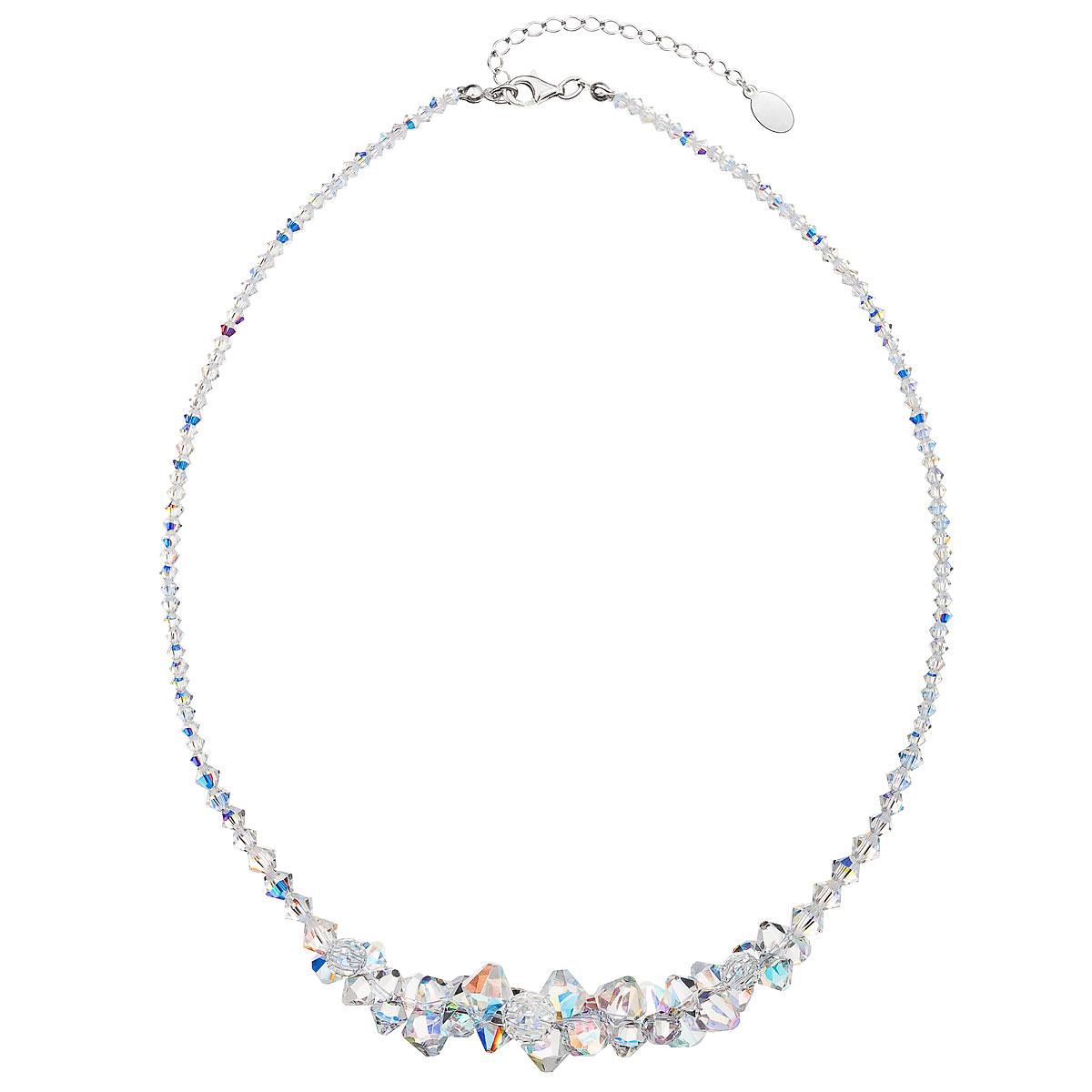 Evolution Group Stříbrný náhrdelník s krystaly Swarovski AB efekt hrozen 32028.2
