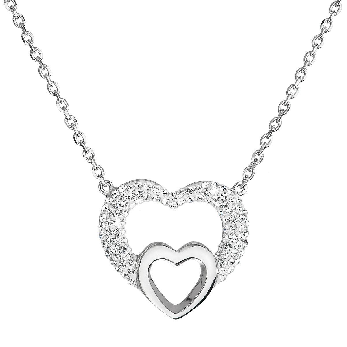 Evolution Group Stříbrný náhrdelník s krystaly Swarovski bílé srdce 32032.1