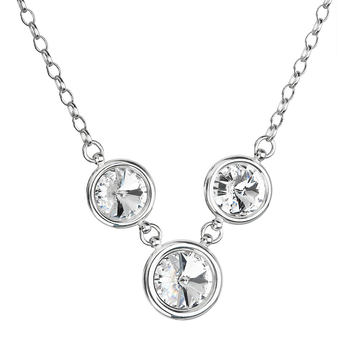 Evolution Group Stříbrný náhrdelník s krystaly Swarovski bílý 32033.1