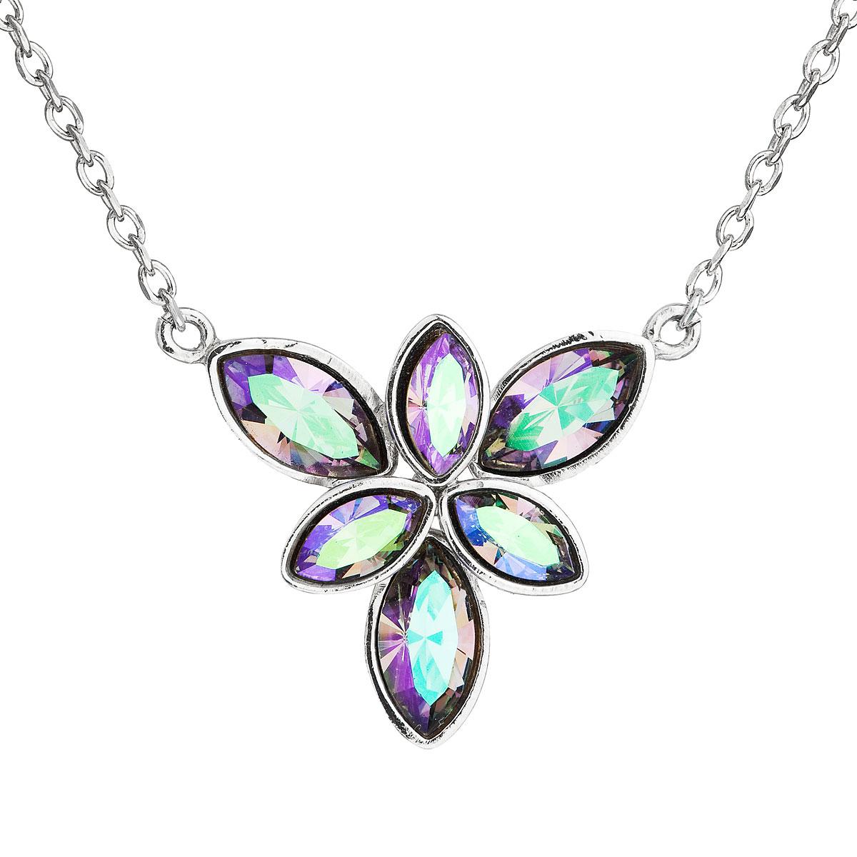 Evolution Group Stříbrný náhrdelník s krystaly Swarovski modrá kytička 32047.5