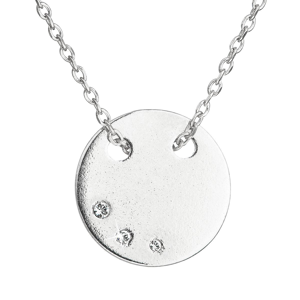 53d822837 Evolution Group Stříbrný náhrdelník s krystaly Swarovski bílý kulatý  32050.1, dárkové balení