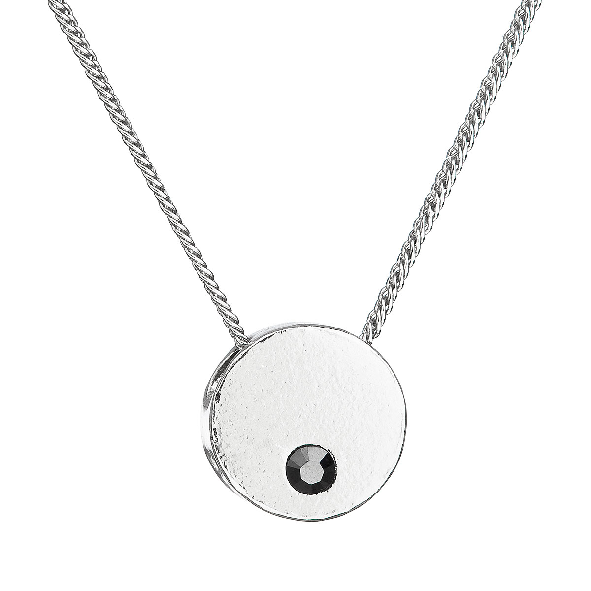Evolution Group Stříbrný náhrdelník s krystaly Swarovski černý 32053.5