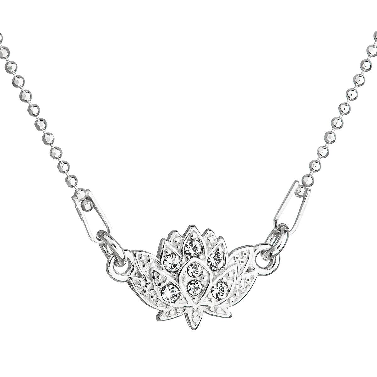 Evolution Group Stříbrný náhrdelník s krystaly Swarovski bílá kytička 32056.1