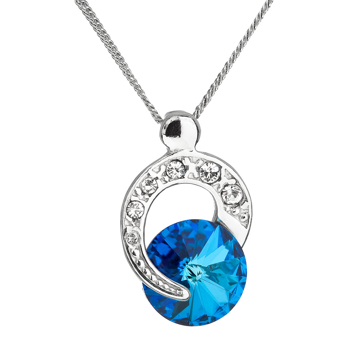 Evolution Group Stříbrný náhrdelník s krystalem Swarovski modrý kulatý 32048.5