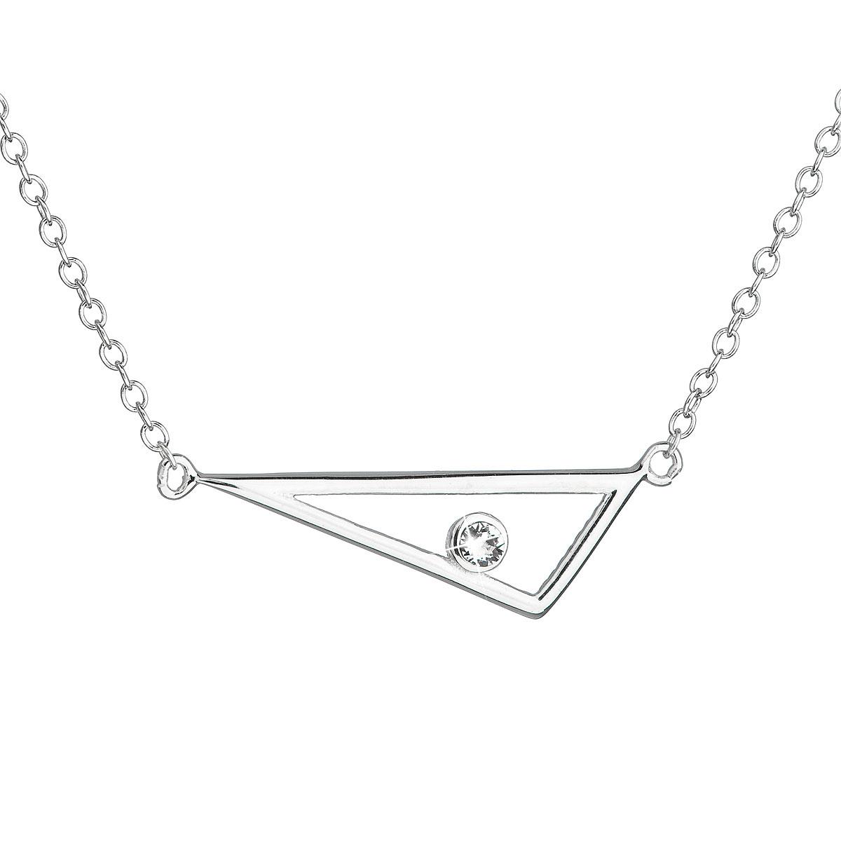 Stříbrný náhrdelník s krystalem Swarovski bílý 32059.1
