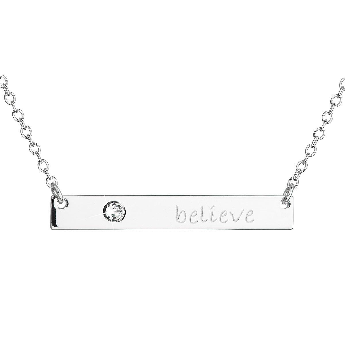 Evolution Group Stříbrný náhrdelník s krystalem Swarovski bílý obdélník 32060.1