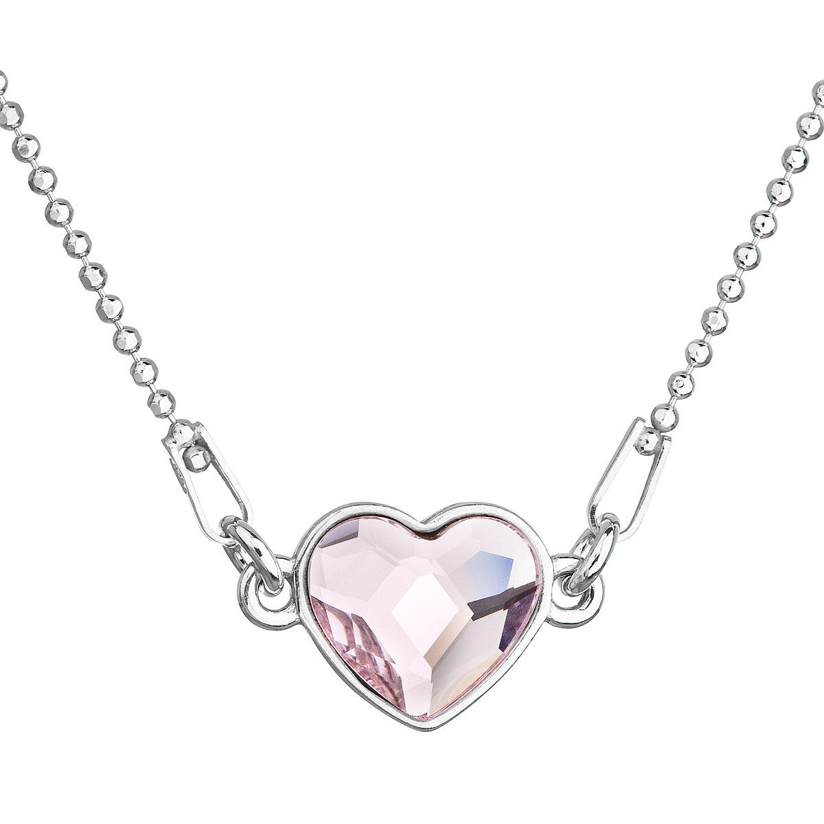 Evolution Group Stříbrný náhrdelník s krystalem Swarovski růžové srdce 32061.3