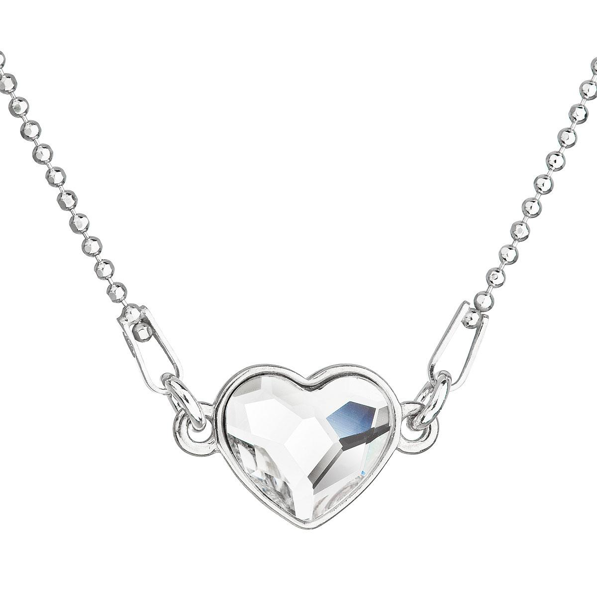 Evolution Group Stříbrný náhrdelník s krystalem Swarovski bílé srdce 32061.1