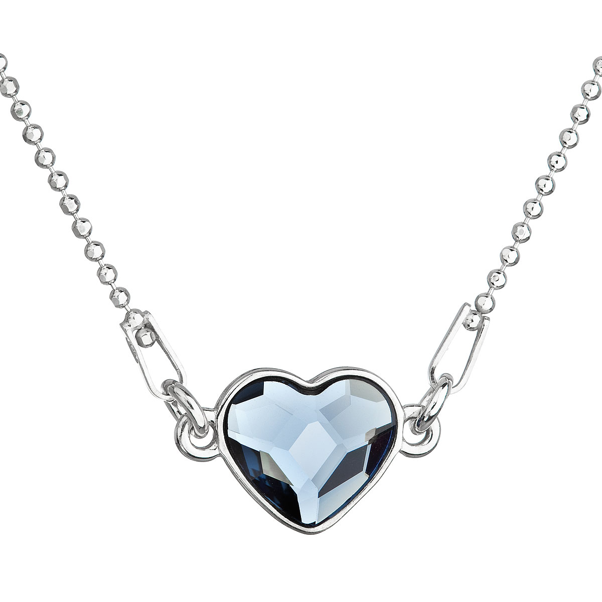 Evolution Group Stříbrný náhrdelník s krystalem Swarovski modré srdce 32061.3