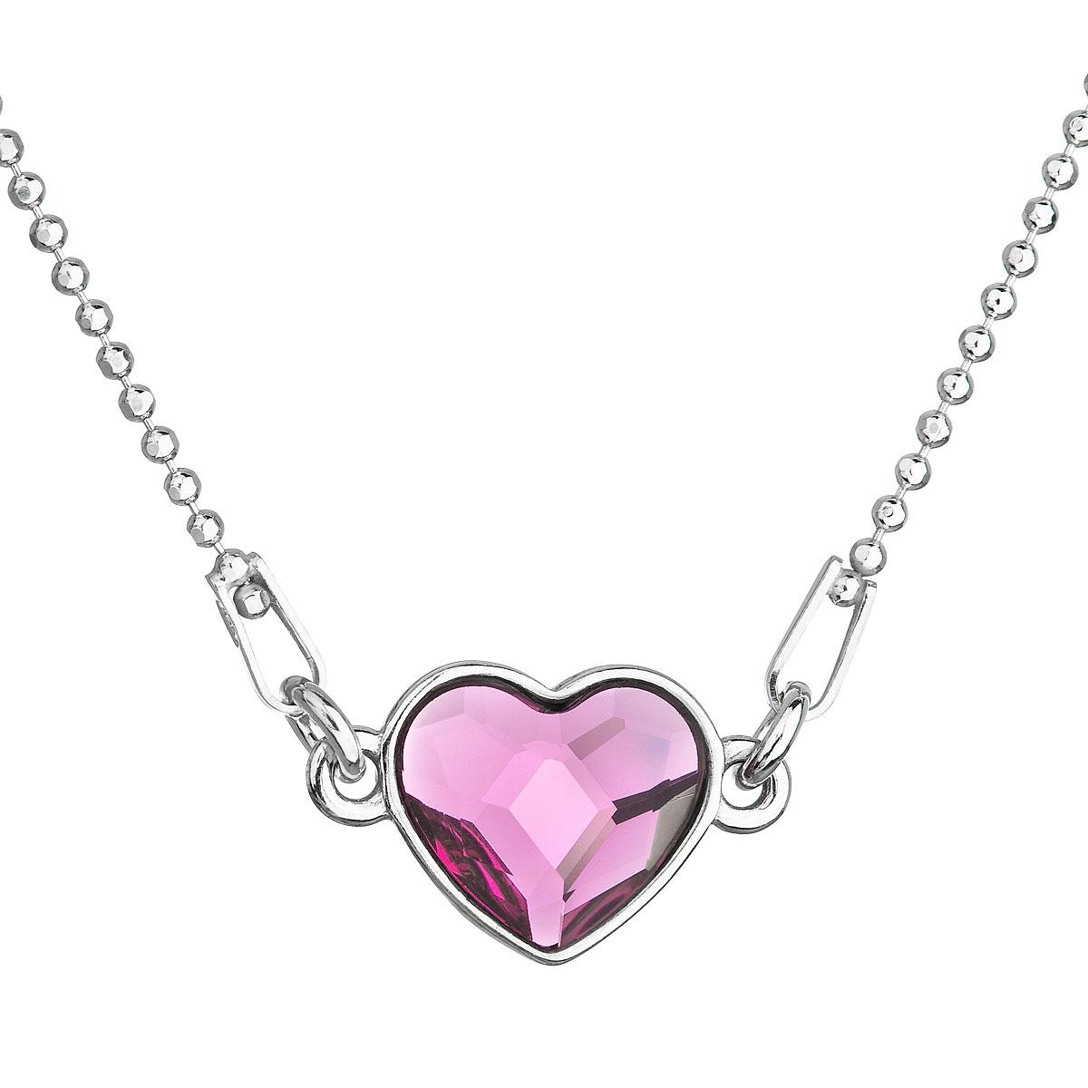 Evolution Group Stříbrný náhrdelník s krystalem Swarovski růžové  srdce 32061.3 fuchsia