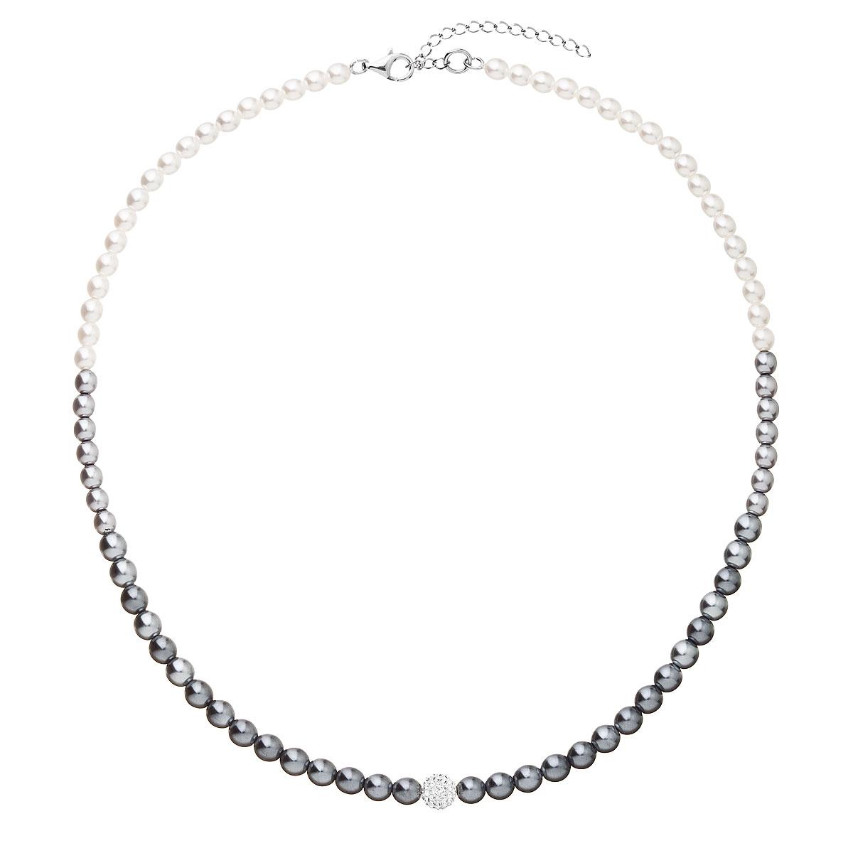 Perlový náhrdelník bílo-šedý 32065.3
