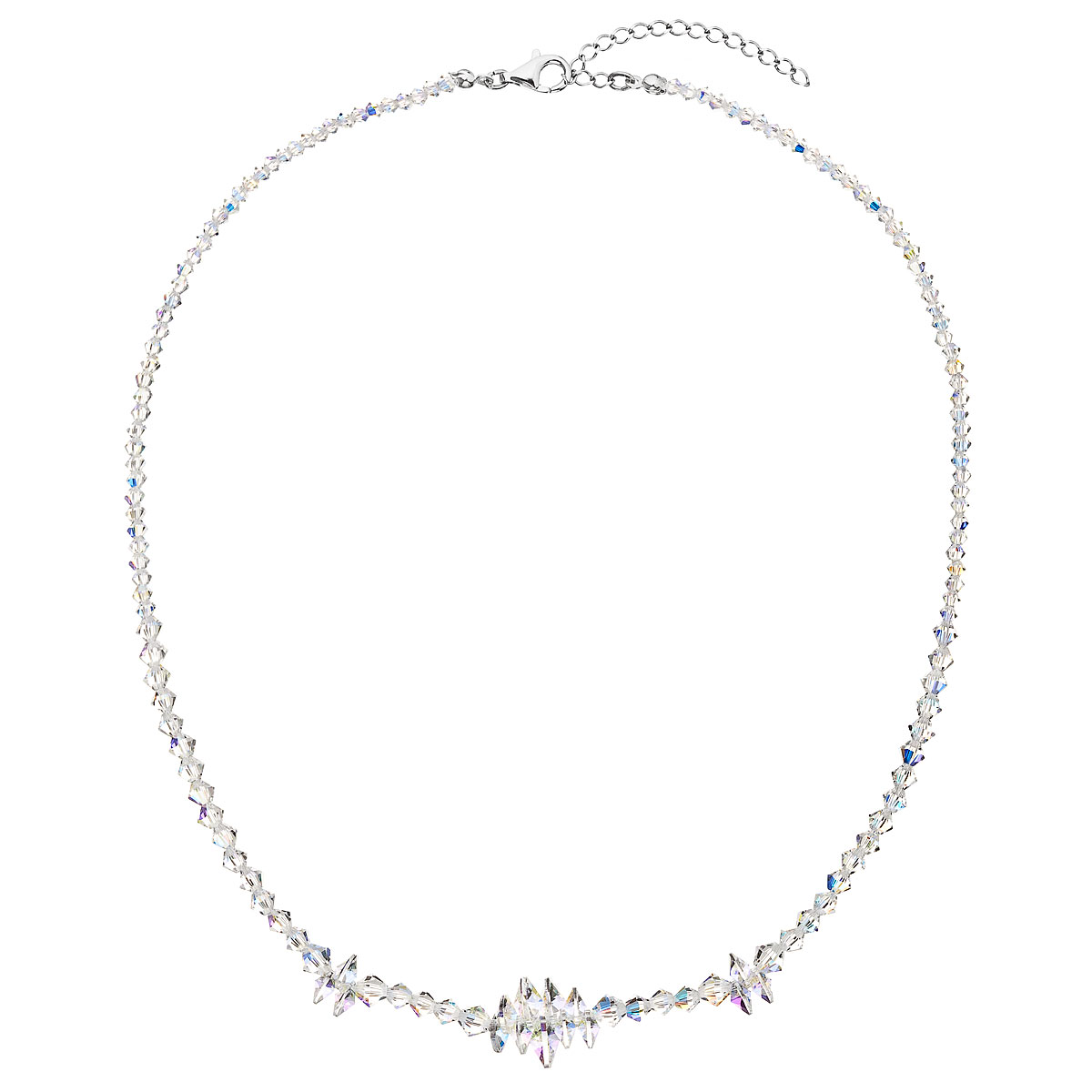 Stříbrný náhrdelník s krystaly Swarovski AB efekt hrozen 32064.2
