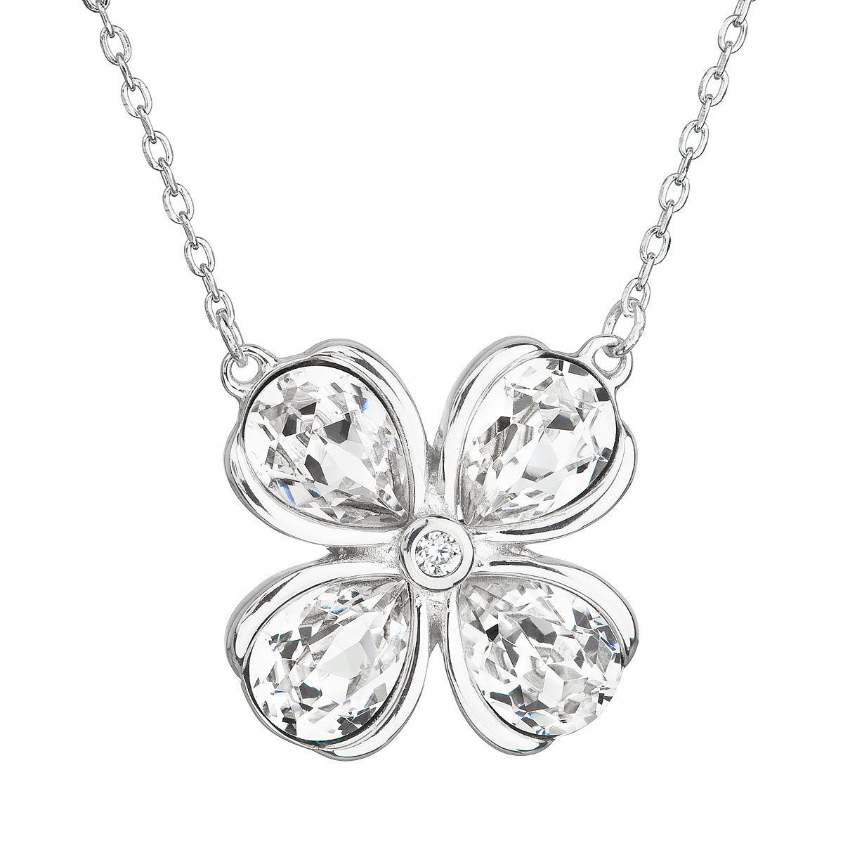 Evolution Group Stříbrný náhrdelník s krystaly Swarovski bílá kytička 32066.1