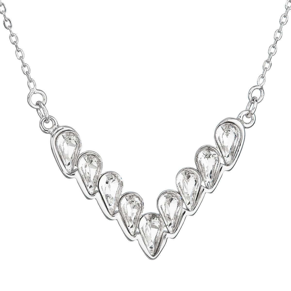Evolution Group Stříbrný náhrdelník s krystaly Swarovski bílý 32067.1
