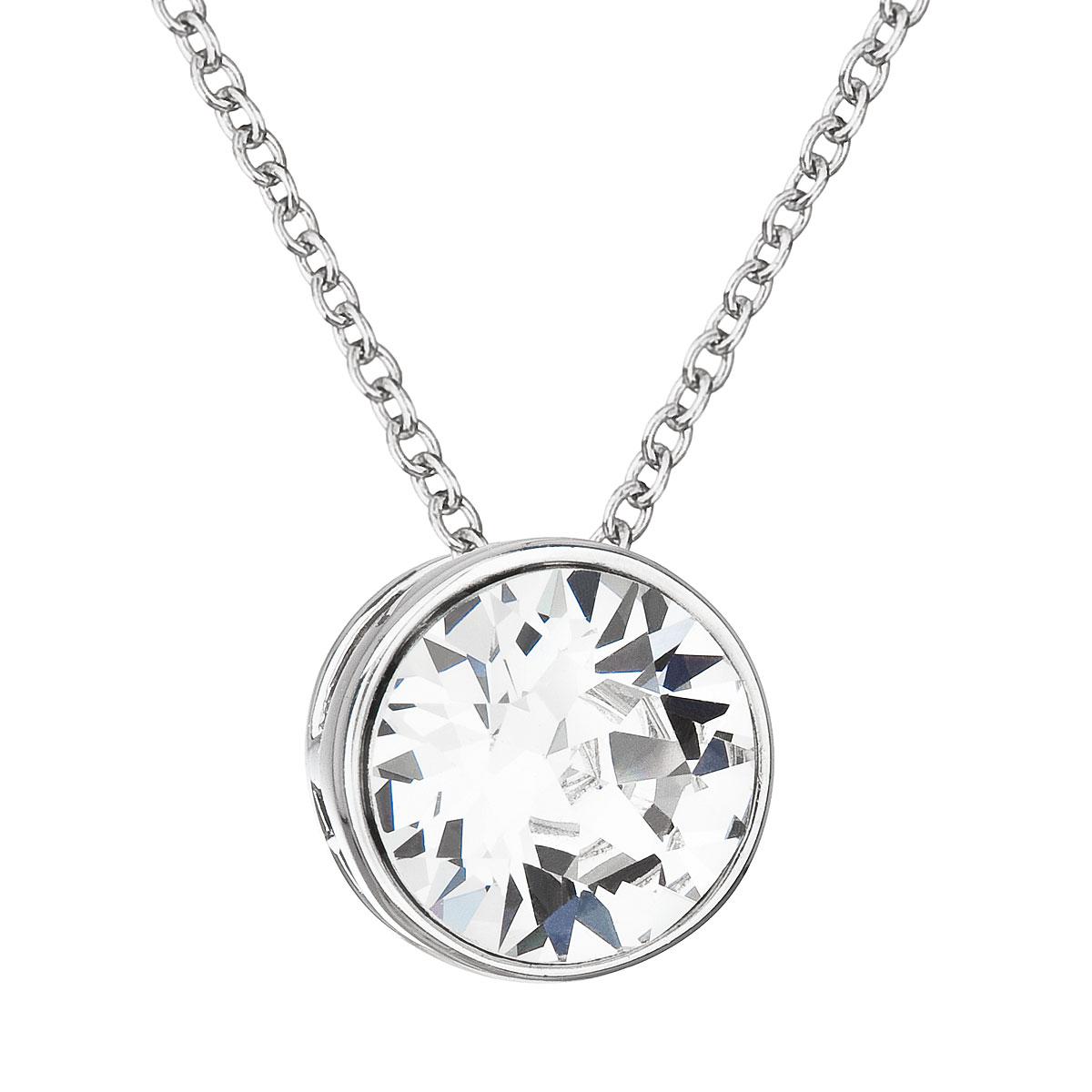 Evolution Group Stříbrný náhrdelník s krystalem Swarovski bílý kulatý 32069.1