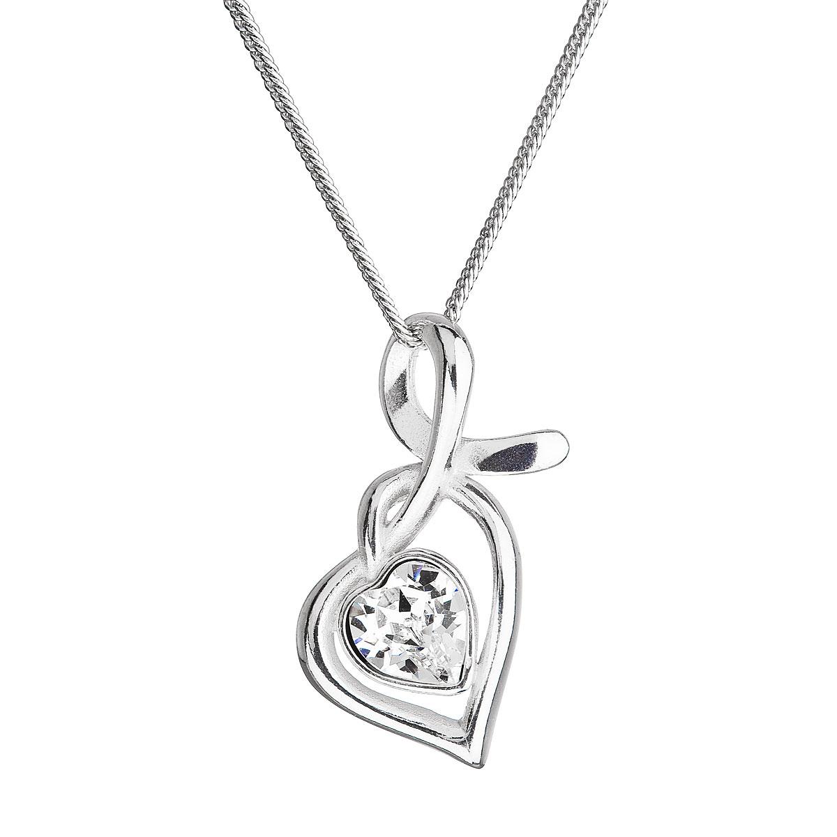 Evolution Group Stříbrný náhrdelník se Swarovski krystaly srdce bílé 32071.1