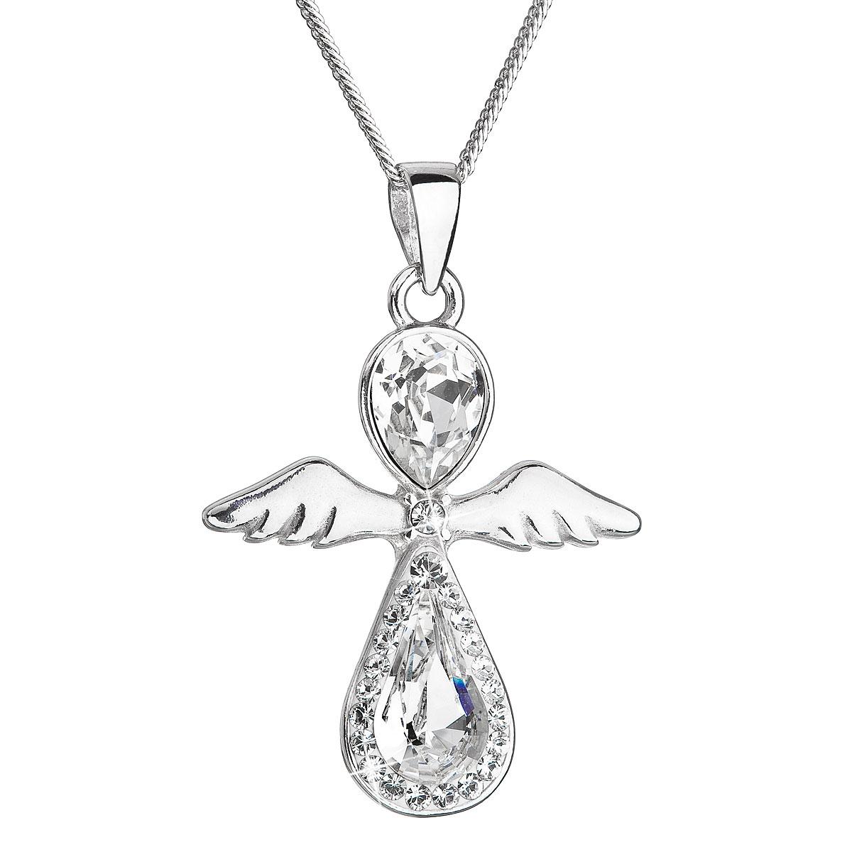 Evolution Group Stříbrný náhrdelník anděl se Swarovski krystaly bílý 32072.1