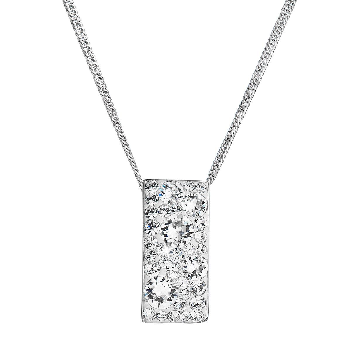 Evolution Group Stříbrný náhrdelník se Swarovski krystaly bílý obdélník 32074.1