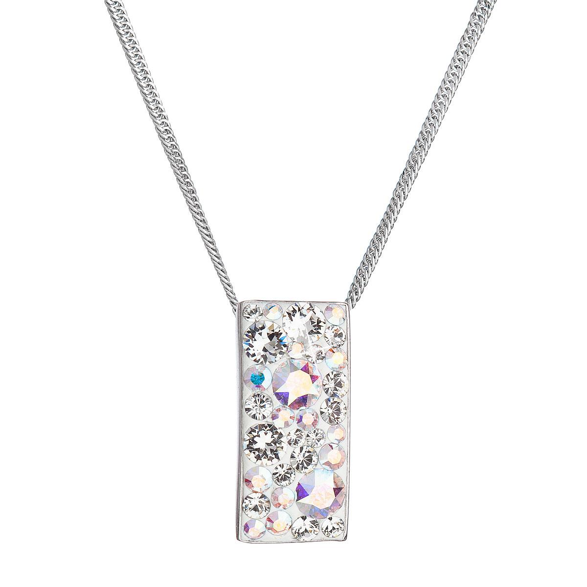 Evolution group Stříbrný náhrdelník se Swarovski krystaly obdélník 32074.2 ab efekt