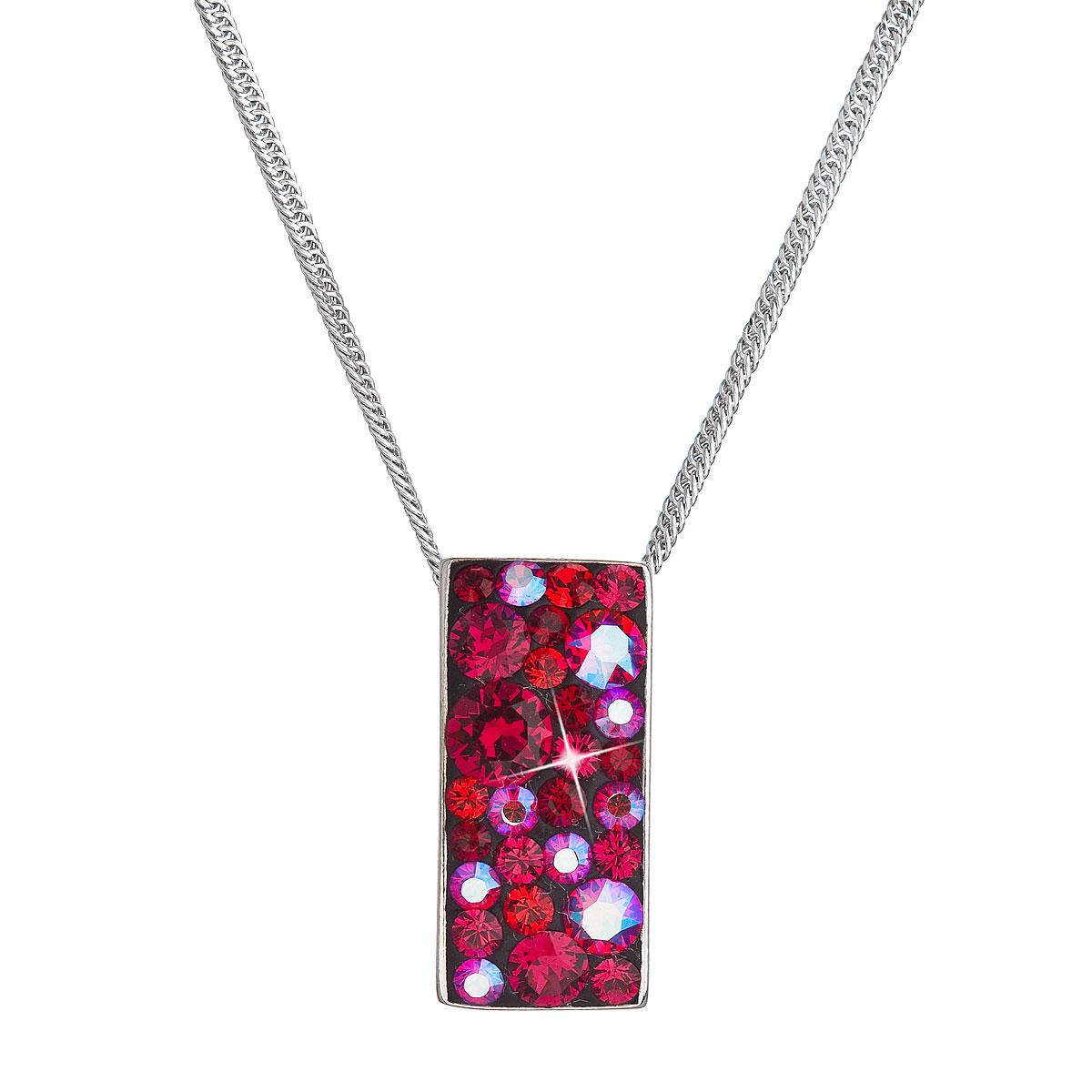 Evolution Group Stříbrný náhrdelník se Swarovski krystaly červený obdélník 32074.3 cherry