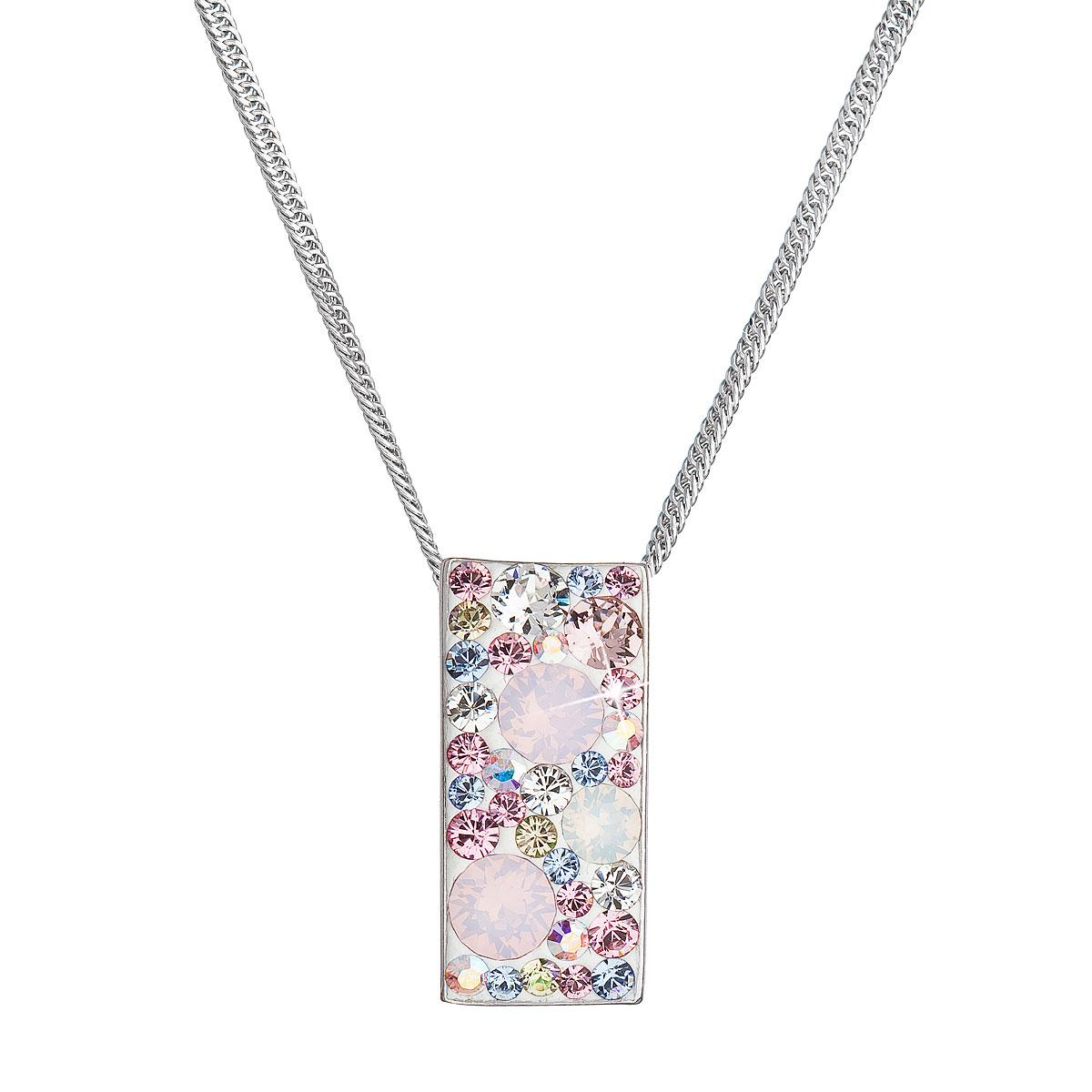 Evolution Group Stříbrný náhrdelník se Swarovski krystaly růžový obdélník 32074.3 magic rose