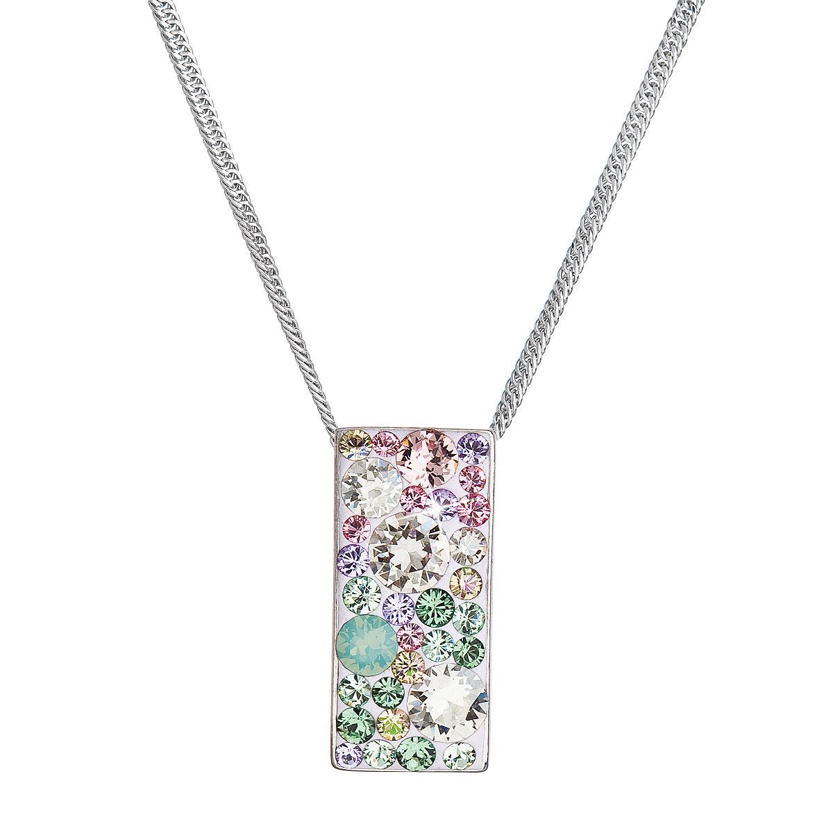 Evolution Group Stříbrný náhrdelník se Swarovski krystaly růžovo-zelený obdélník 32074.3 sakura