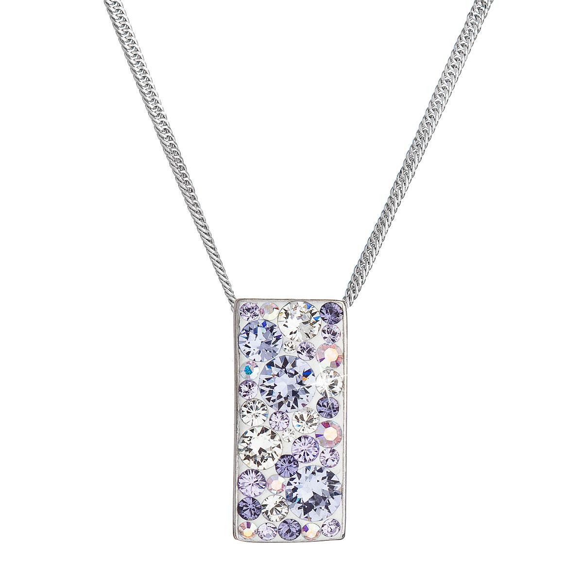 Evolution Group Stříbrný náhrdelník se Swarovski krystaly fialový obdélník 32074.3 violet