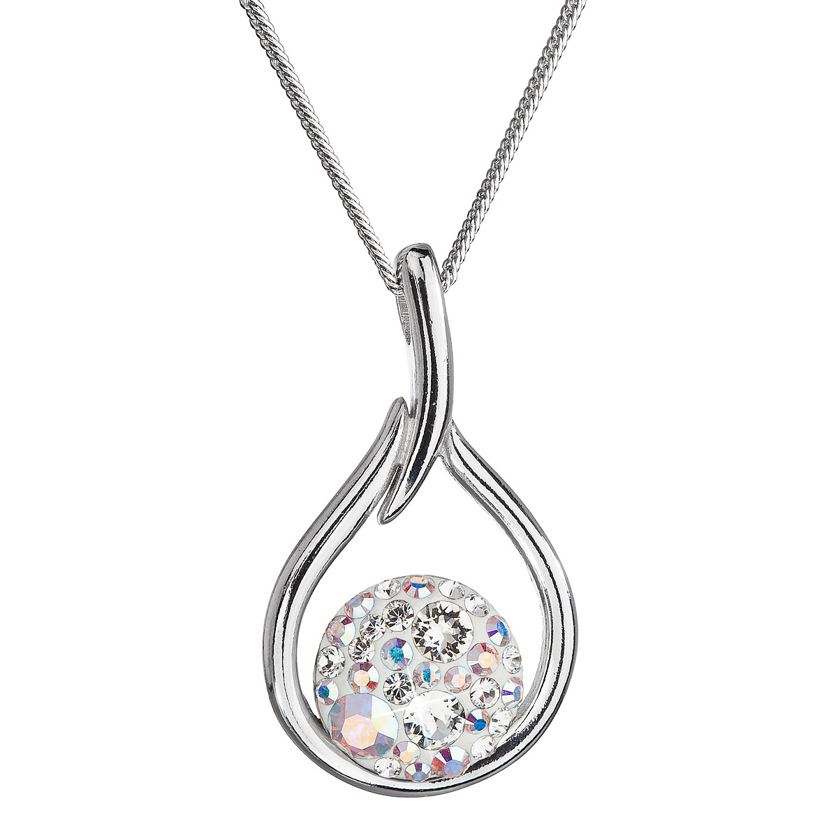 Evolution Group Stříbrný náhrdelník se Swarovski krystaly kapka 32075.2 bílá s ab efektem