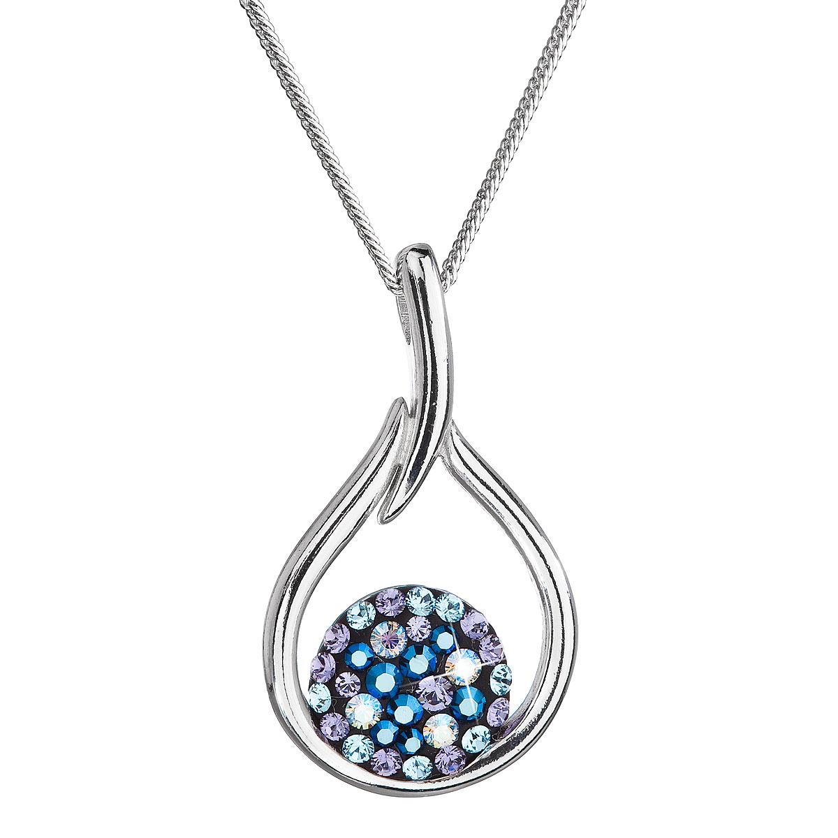 Evolution Group Stříbrný náhrdelník se Swarovski krystaly kapka 32075.3 blue style