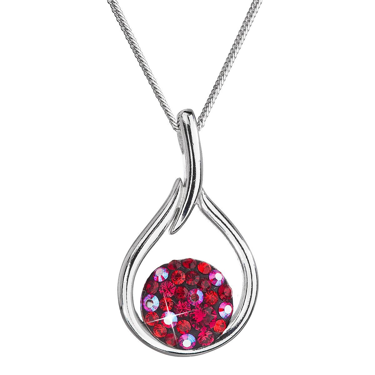 Evolution Group Stříbrný náhrdelník se Swarovski krystaly kapka 32075.3 cherry