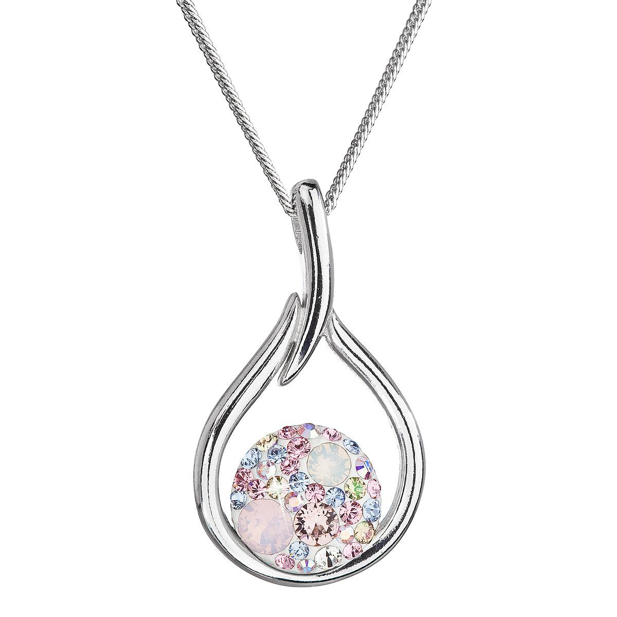 Evolution Group Stříbrný náhrdelník se Swarovski krystaly kapka 32075.3 magic rose