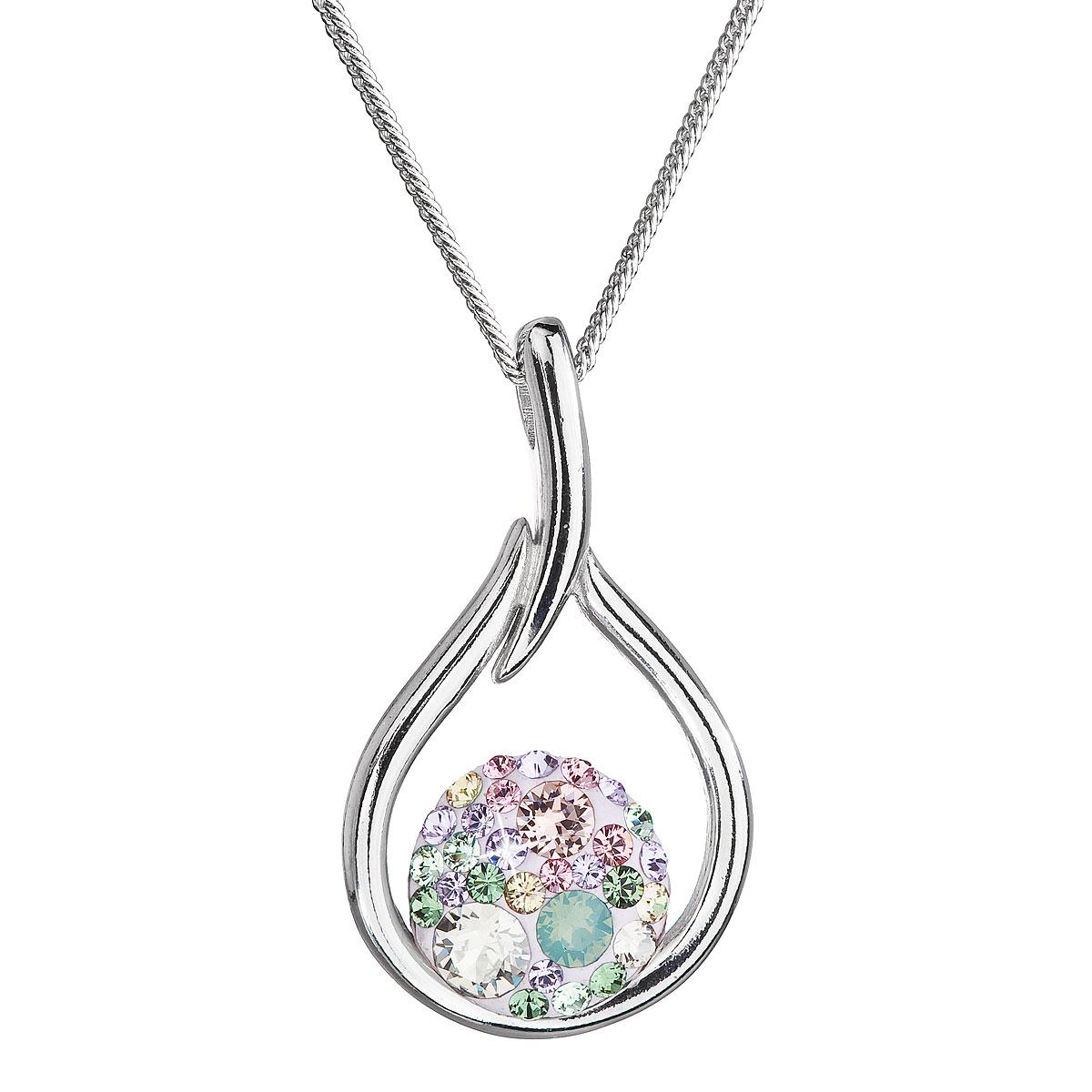 Evolution Group Stříbrný náhrdelník se Swarovski krystaly kapka 32075.3 sakura