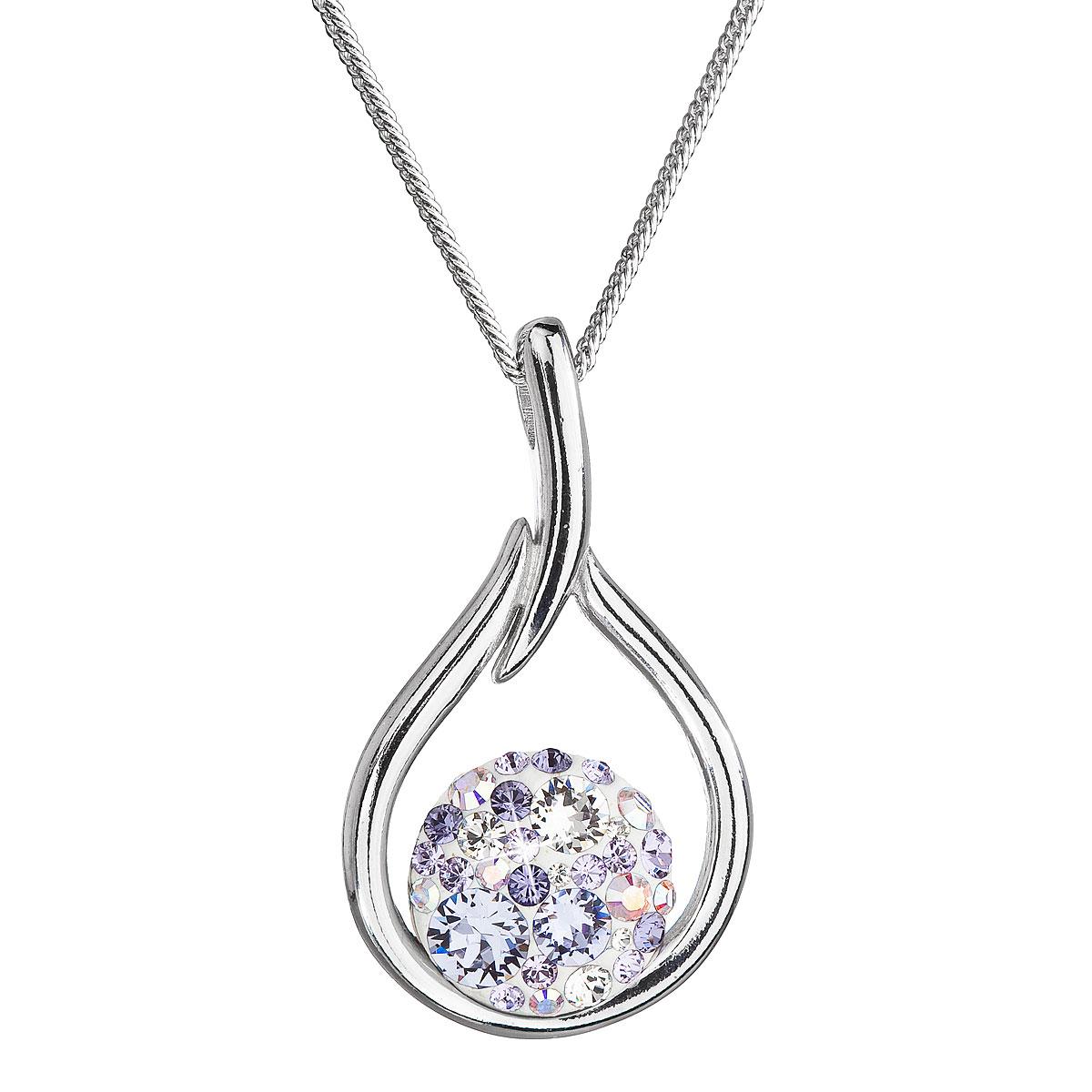 Evolution Group Stříbrný náhrdelník se Swarovski krystaly kapka 32075.3 violet