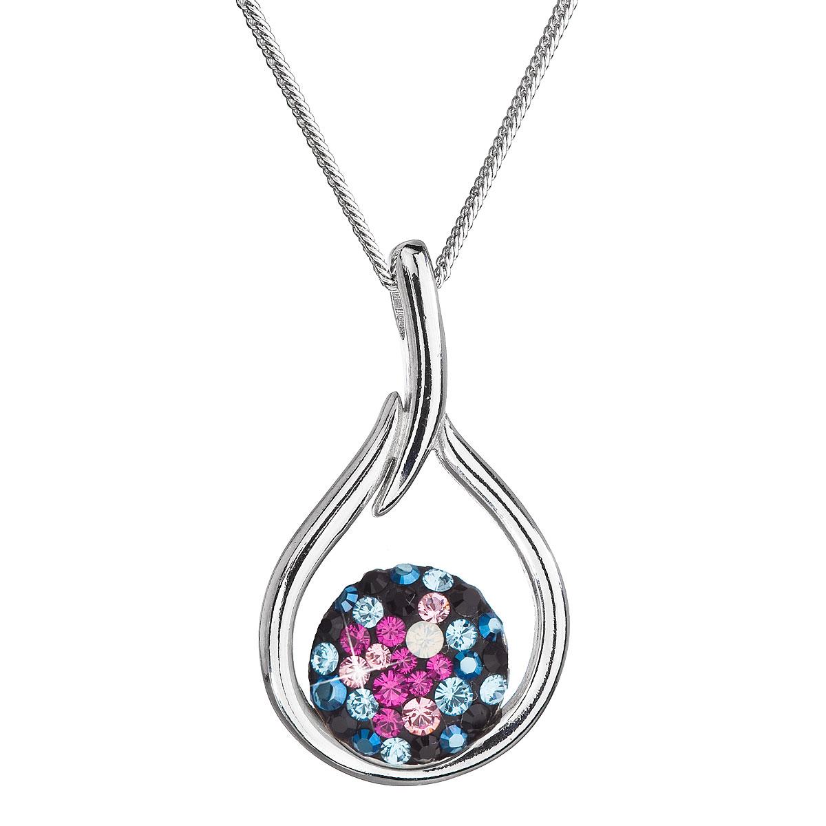 Evolution Group Stříbrný náhrdelník se Swarovski krystaly kapka 32075.4 galaxy