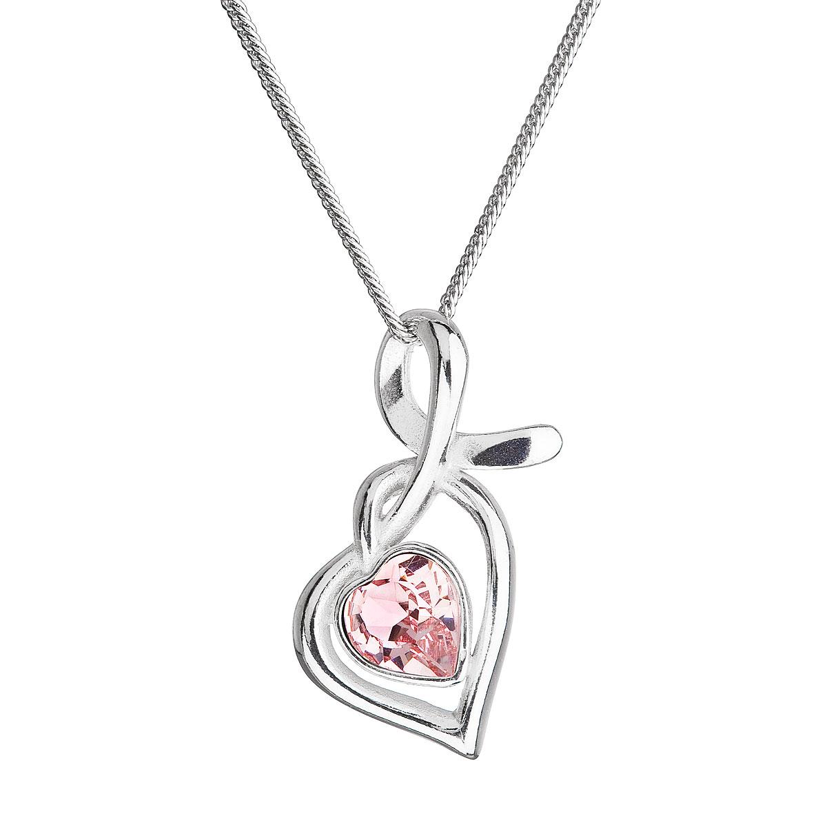 Evolution Group Stříbrný náhrdelník se Swarovski krystaly srdce růžové 32071.3