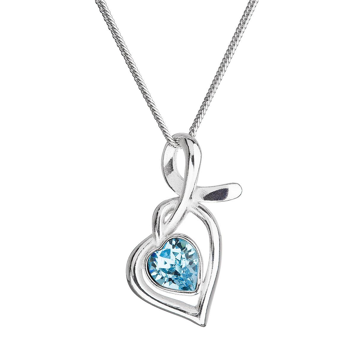 Evolution Group Stříbrný náhrdelník se Swarovski krystaly srdce modré 32071.3
