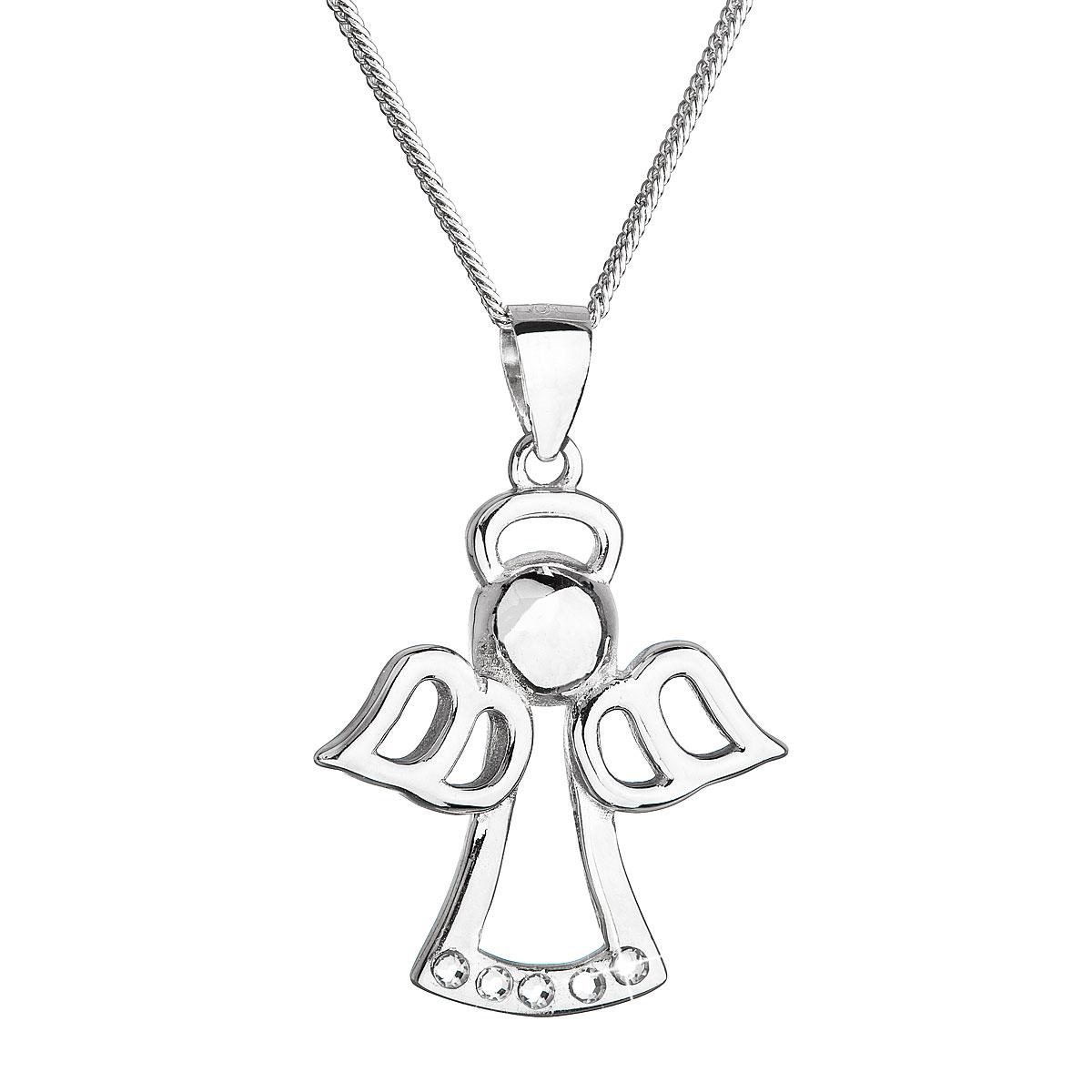Evolution Group Stříbrný náhrdelník anděl se Swarovski krystaly bílý 32076.1