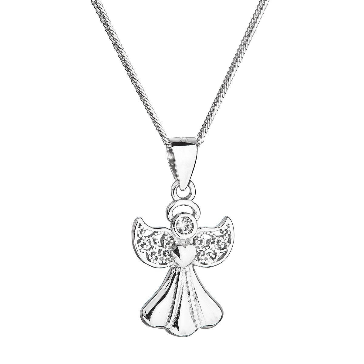 Evolution Group Stříbrný náhrdelník anděl se Swarovski krystaly bílý 32077.1