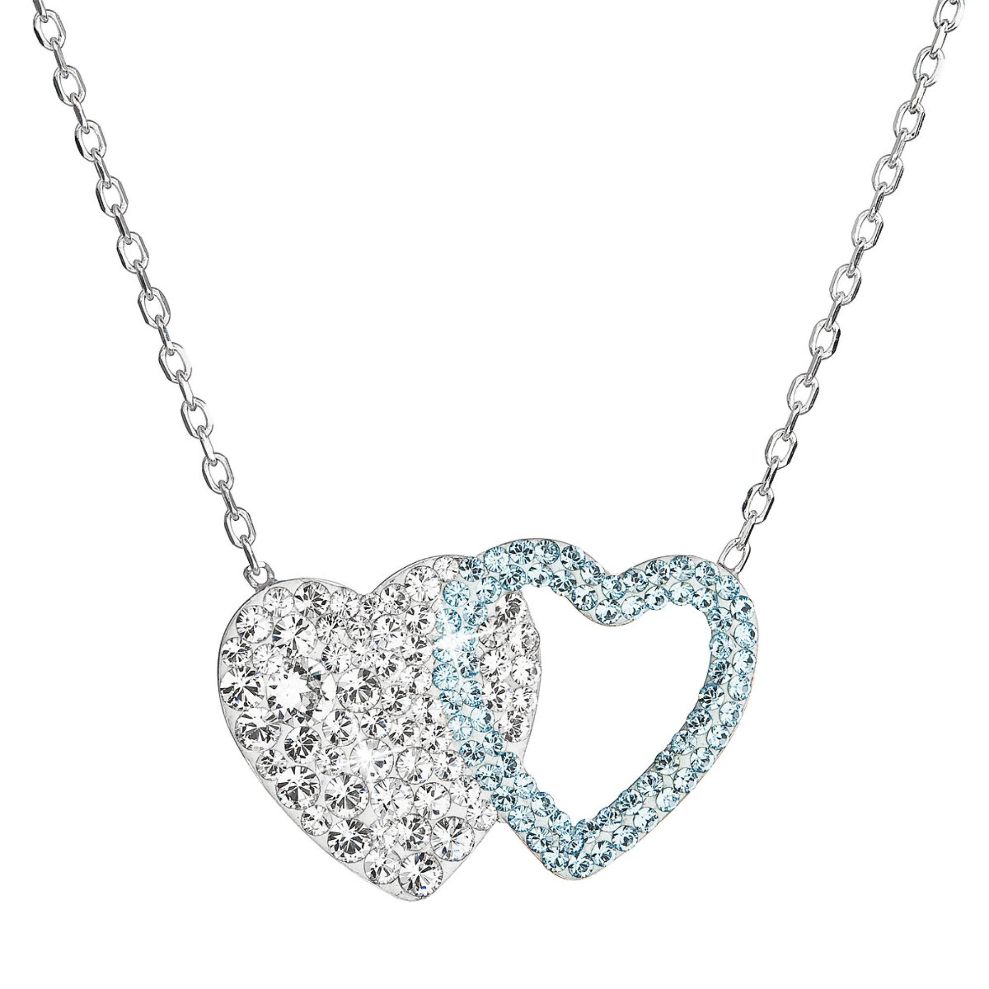 Evolution Group Stříbrný náhrdelník dvojité srdce se Swarovski krystaly 32079.1 modré