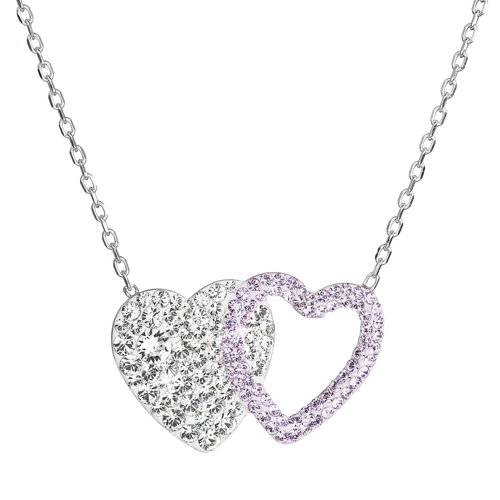 Evolution Group Stříbrný náhrdelník dvojité srdce se Swarovski krystaly 32079.3 fialové