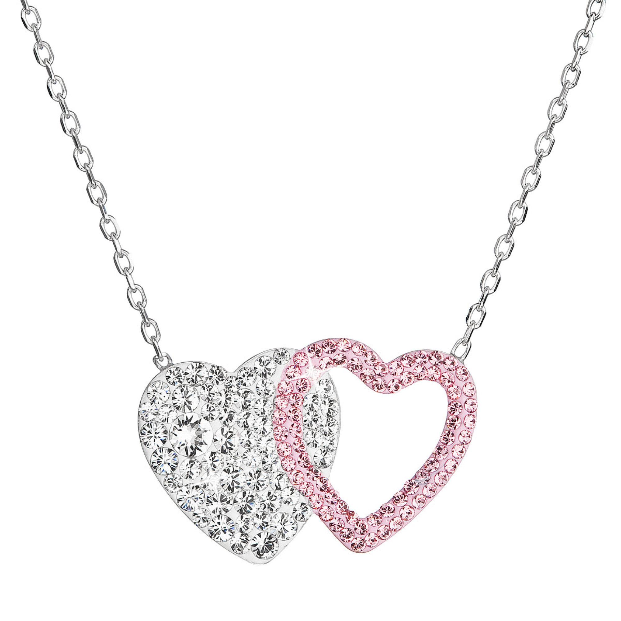 Evolution Group Stříbrný náhrdelník dvojité srdce se Swarovski krystaly 32079.1 růžové